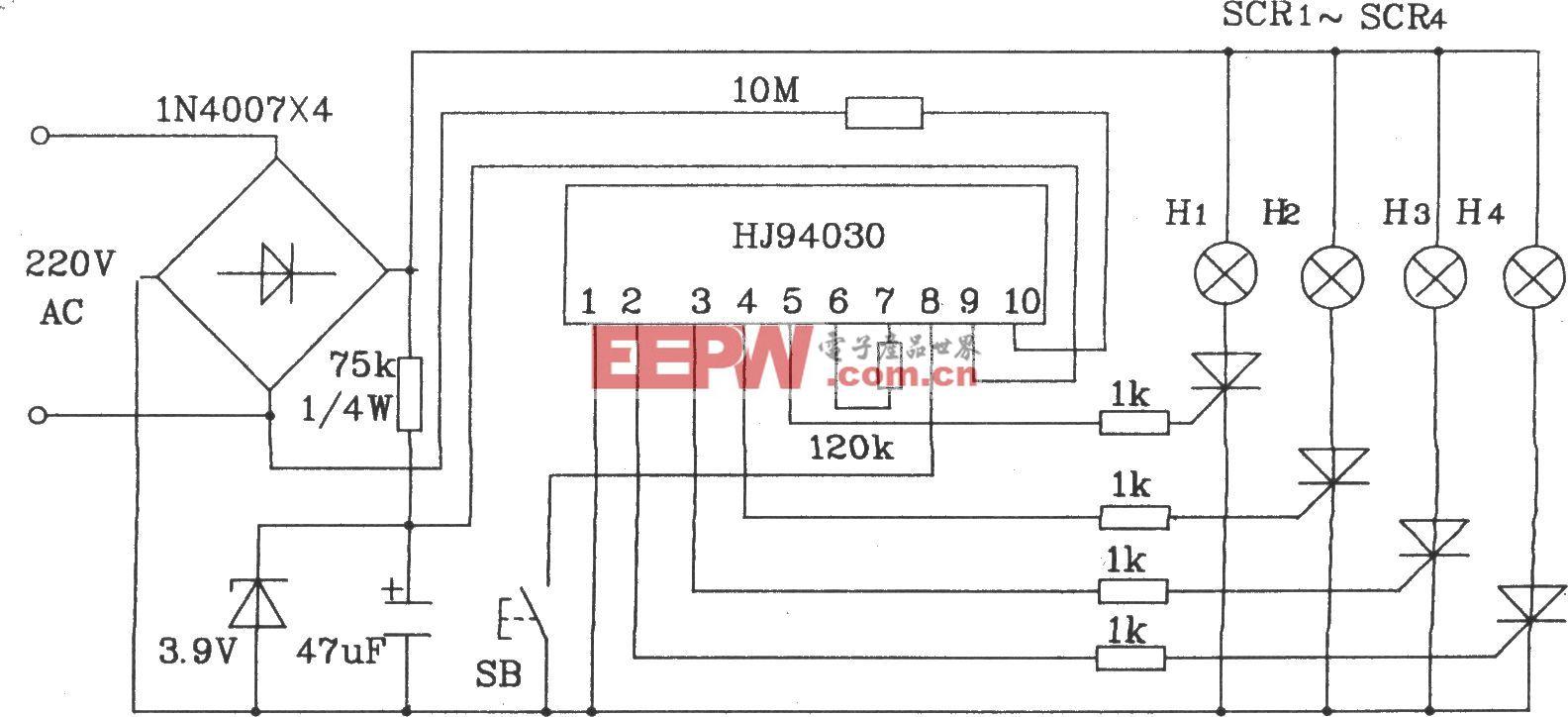 HJ94030多功能灯串控制集成电路典型应用电路
