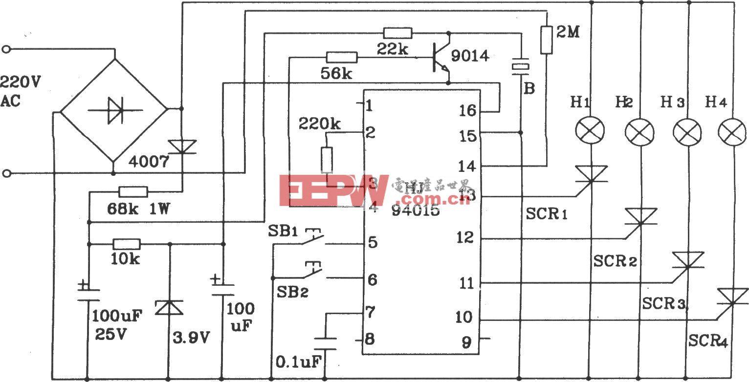HJ94015圣诞彩灯串控制集成电路典型应用电路