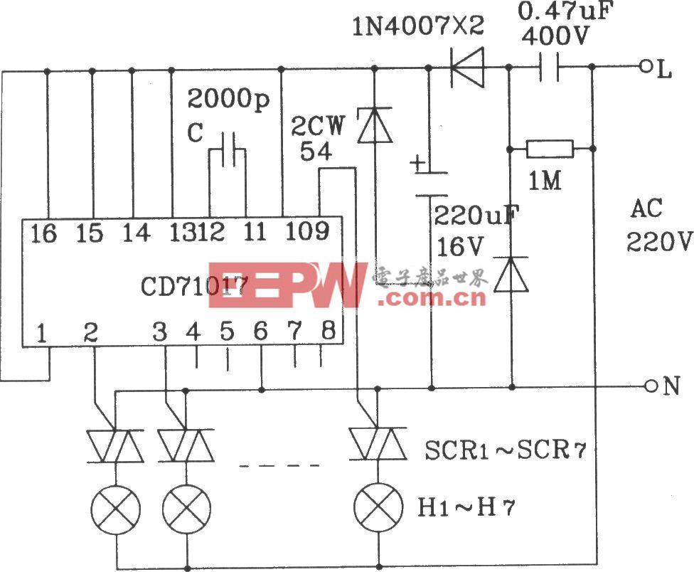 CD71017多功能程控闪光集成电路16脚封装驱动交流彩灯应用电路