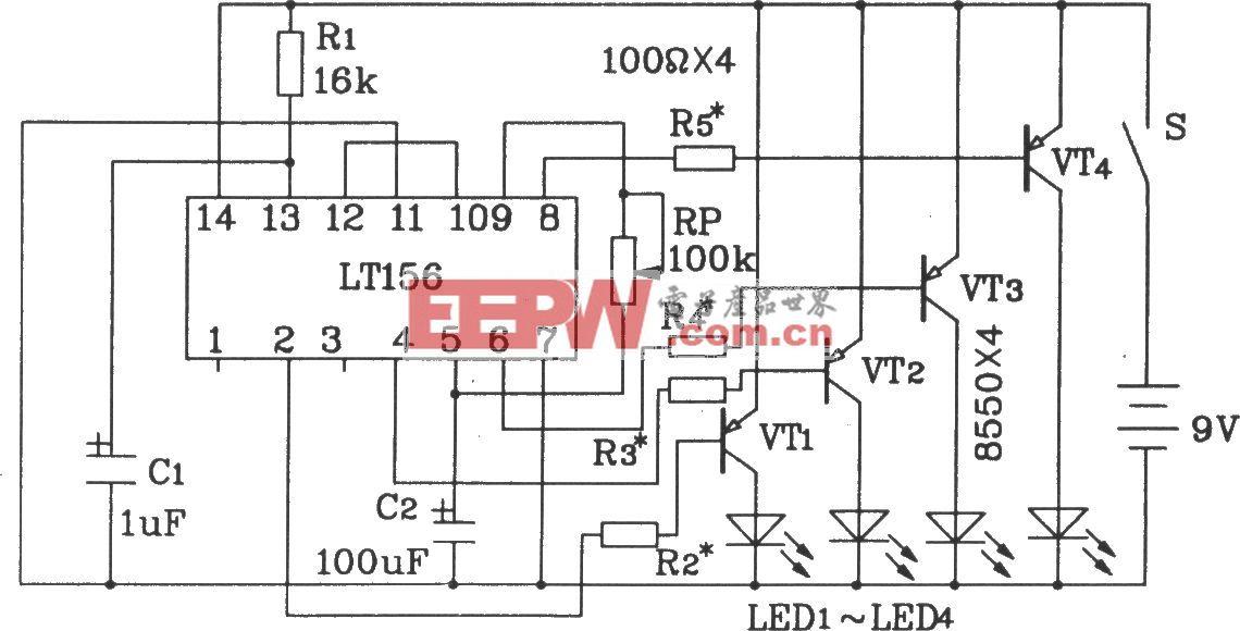 LTl56单片4路彩灯控制集成电路典型应用电路