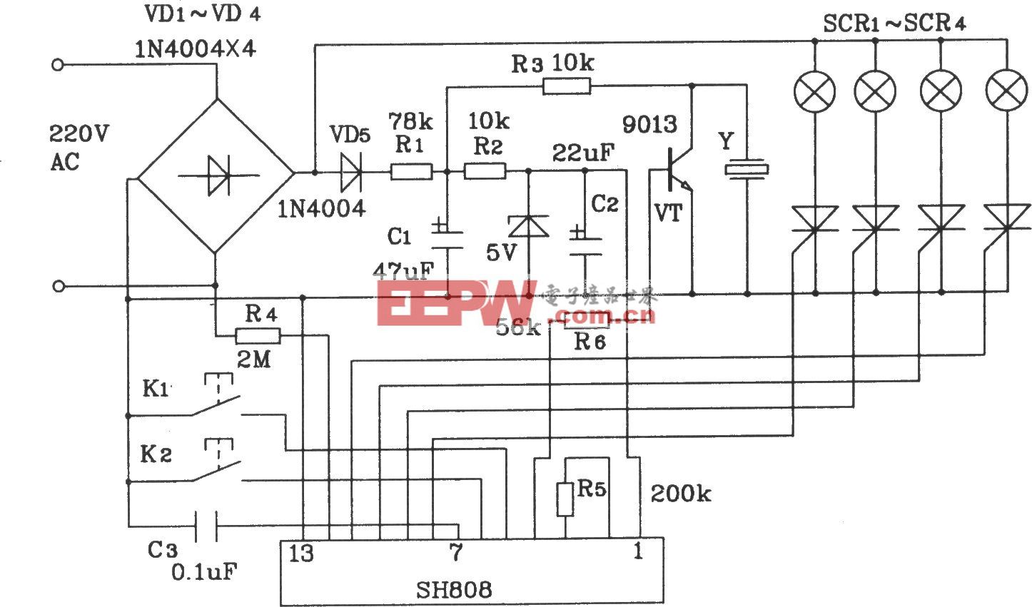 SH808多功能音乐彩灯程控集成电路构成的彩灯控制电路