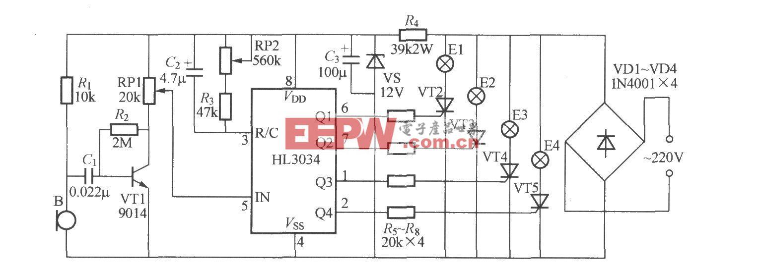 四路卡拉0K灯光渲染器电路(HL3034)