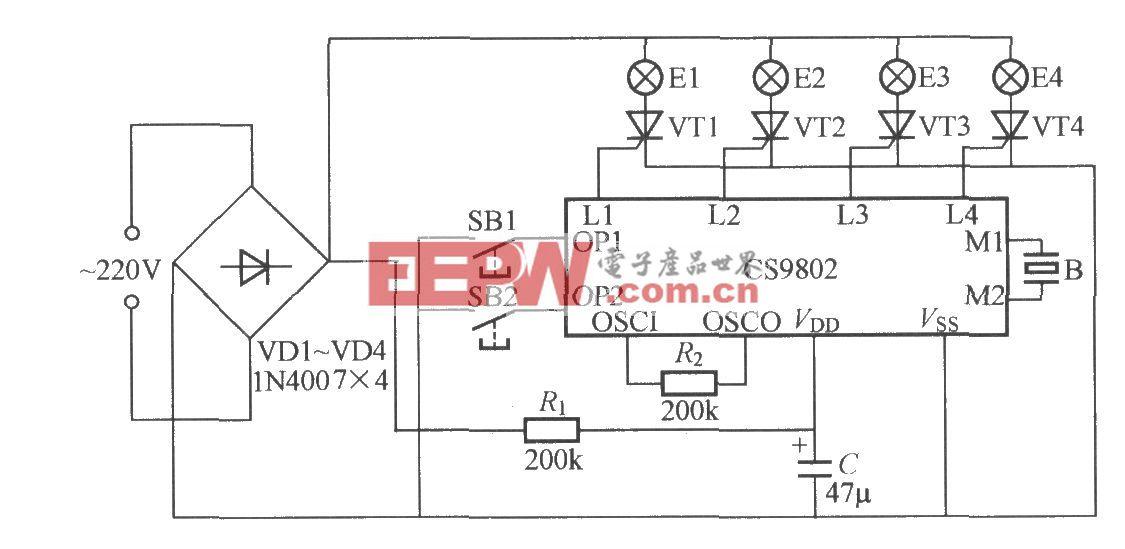 带音乐的四路闪烁灯串电路(CS9802)