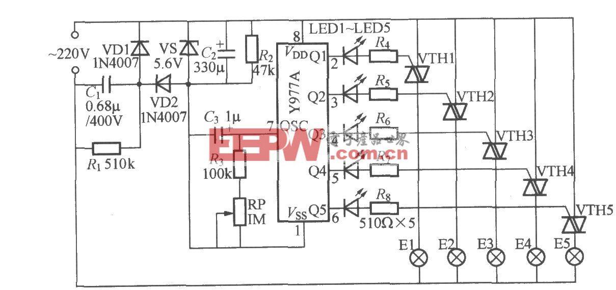 五路闪烁灯串电路(3)(Y977A)
