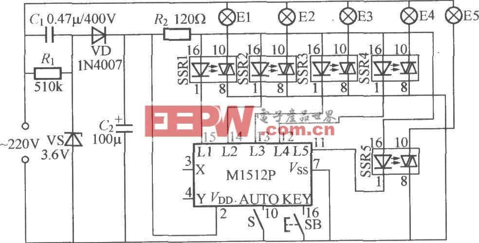 五路闪烁灯串电路(2)(M1512P)
