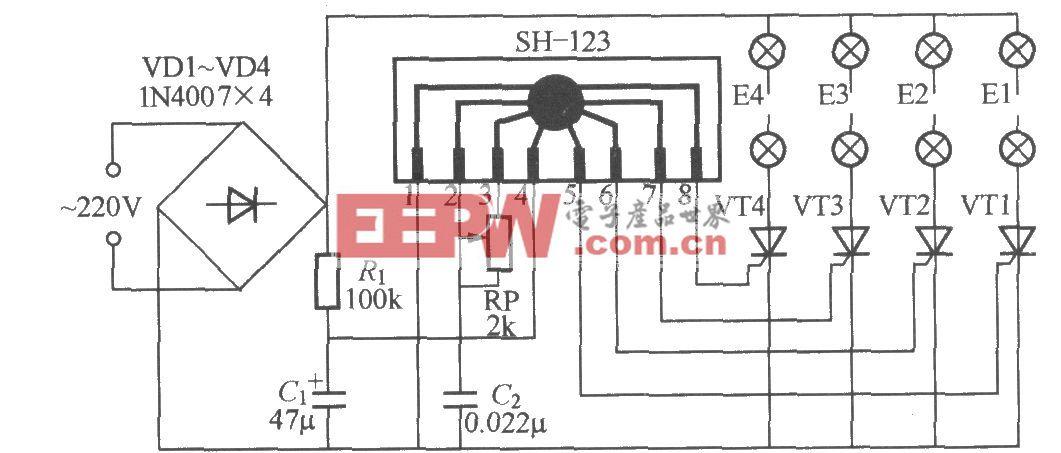 四路闪烁灯串电路(6)(SH-123)