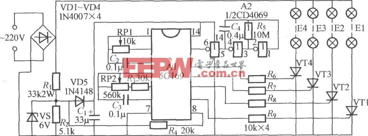 四路闪烁灯串电路(5)(5G169)