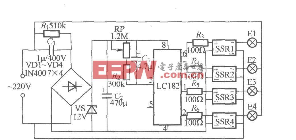 四路闪烁灯串电路(3)(LC182)