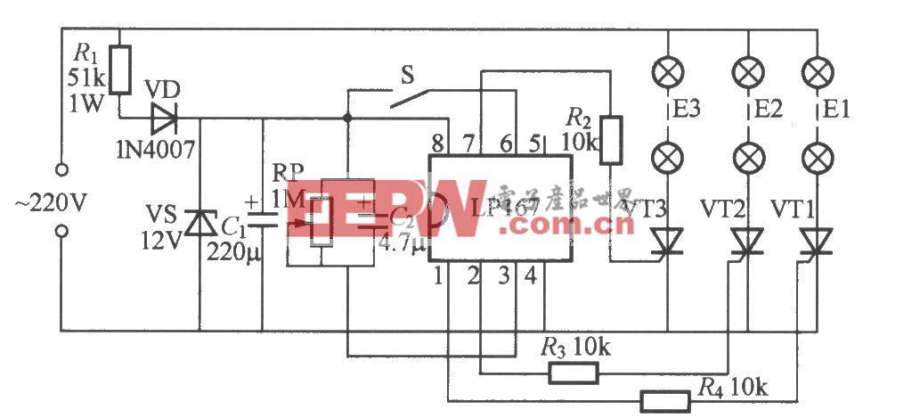 三路闪烁灯串电路(2)(LP167)