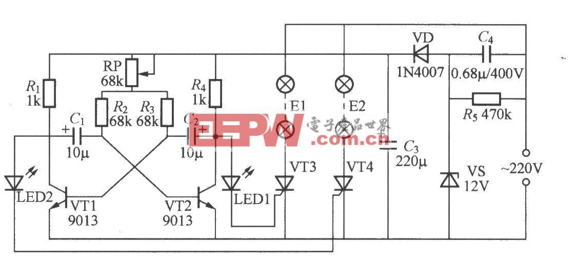 双路闪烁灯串电路(2)