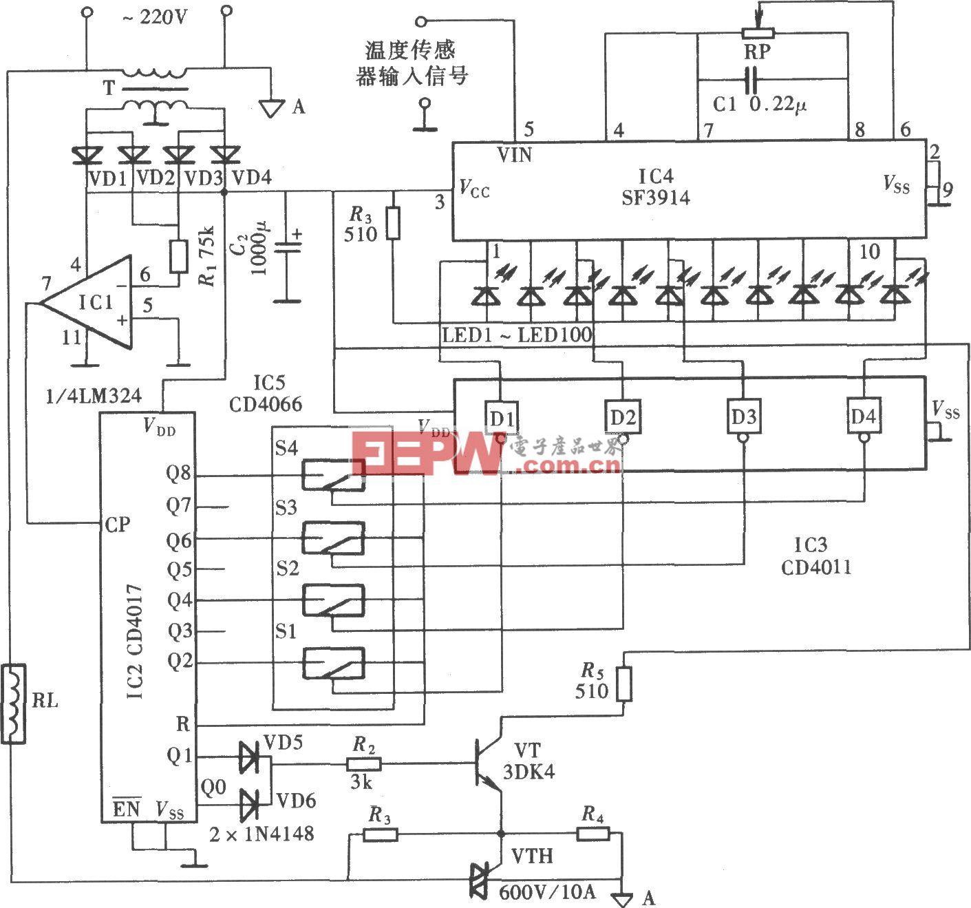 自动调功式温控器(SF3914、CD4066、CD4017)