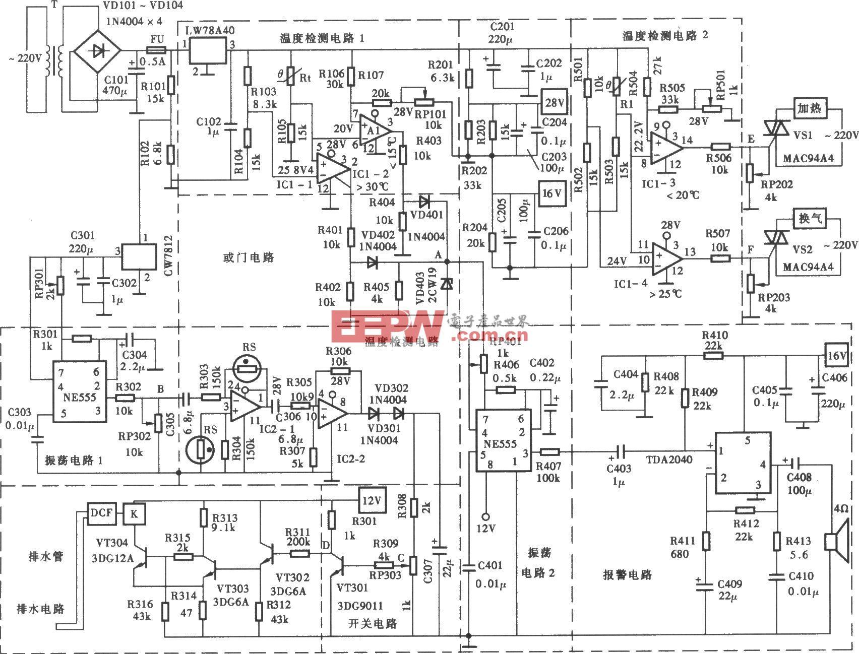 大棚温度和湿度自动控制器电路
