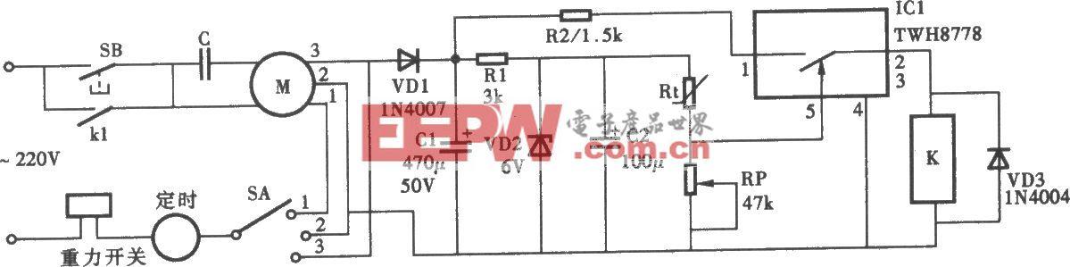 电风扇加装温控器电路