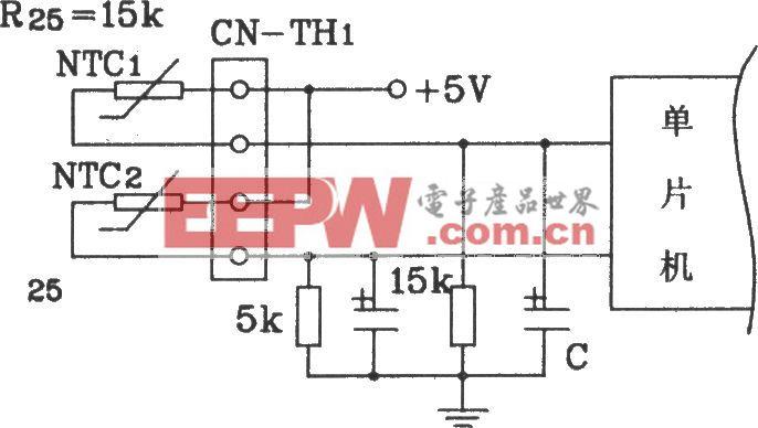 松下分体空调单片机控温度检测回路联接电路图