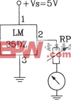 由LM35DZ摄氏温度传感受器构成摄氏温度表电路
