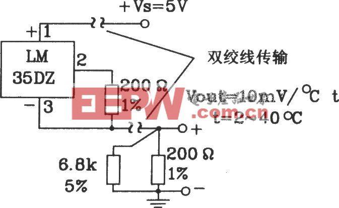 由LM35DZ摄氏温度传感器构成共正电源远距离传输电路