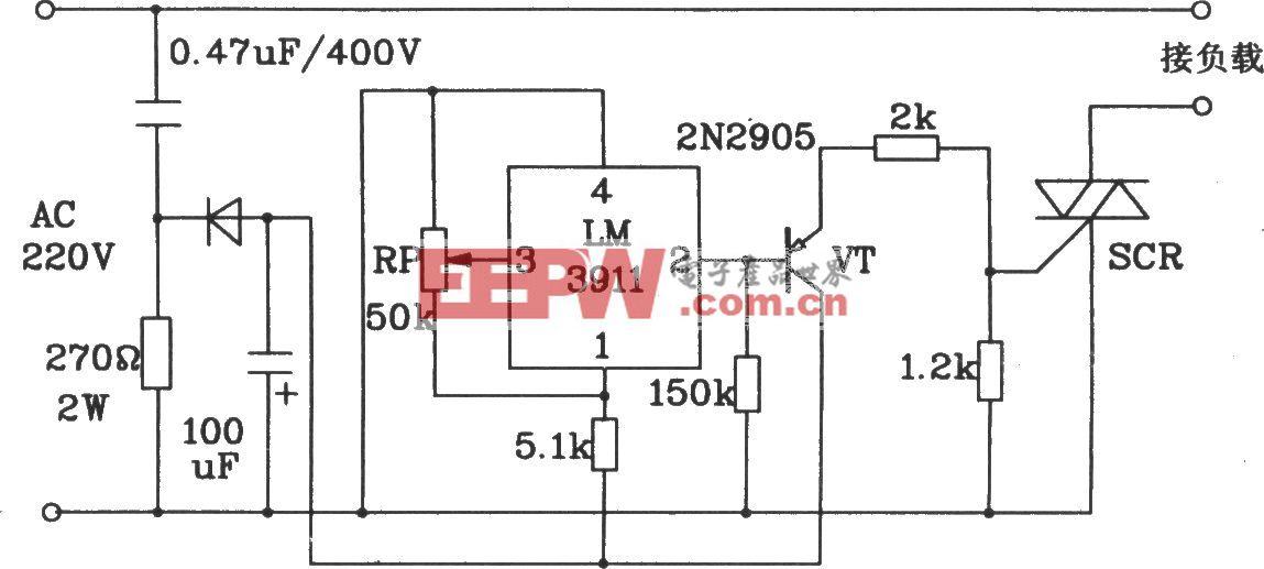 由LM3911单片温度控制集成电路构成的启动制冷设备的控温电路
