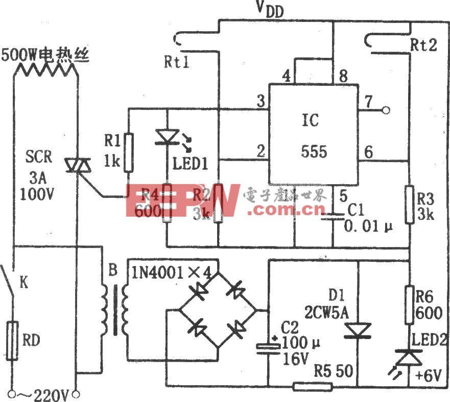 555构成的简易恒温控制器