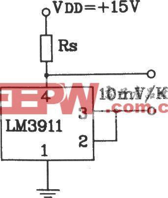 由LM3911单片温度控制集成电路构成单电源测温电路