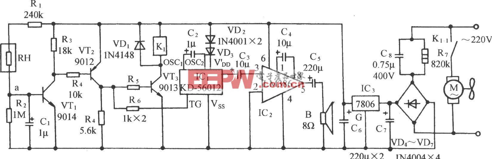 暖房或大棚防结露自动排气拌鸟鸣发声电路