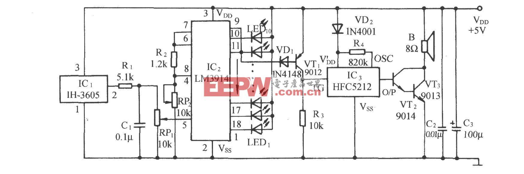 相对湿度LED显示及湿度过大报叫电路