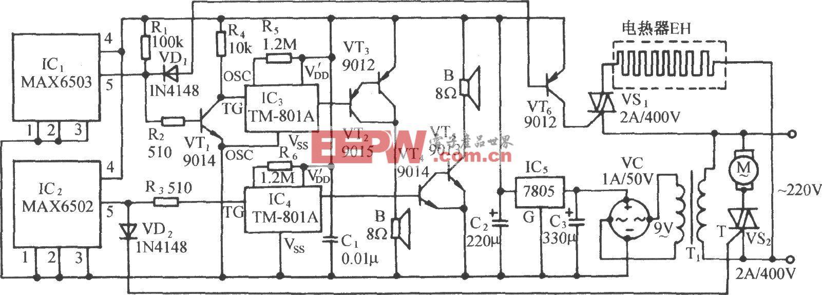 上、下限温度控制伴音响报叫电路(MAX6502/3)