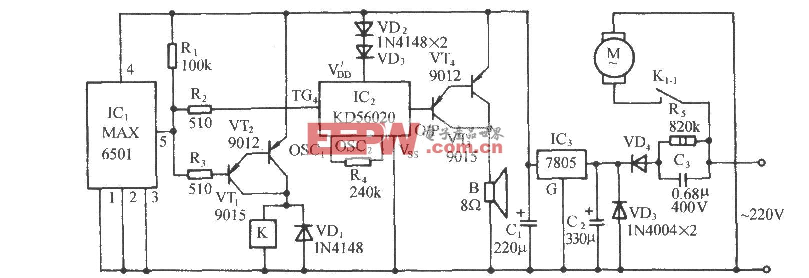 采用温度开关集成电路MAX6501的自动通风降温电路