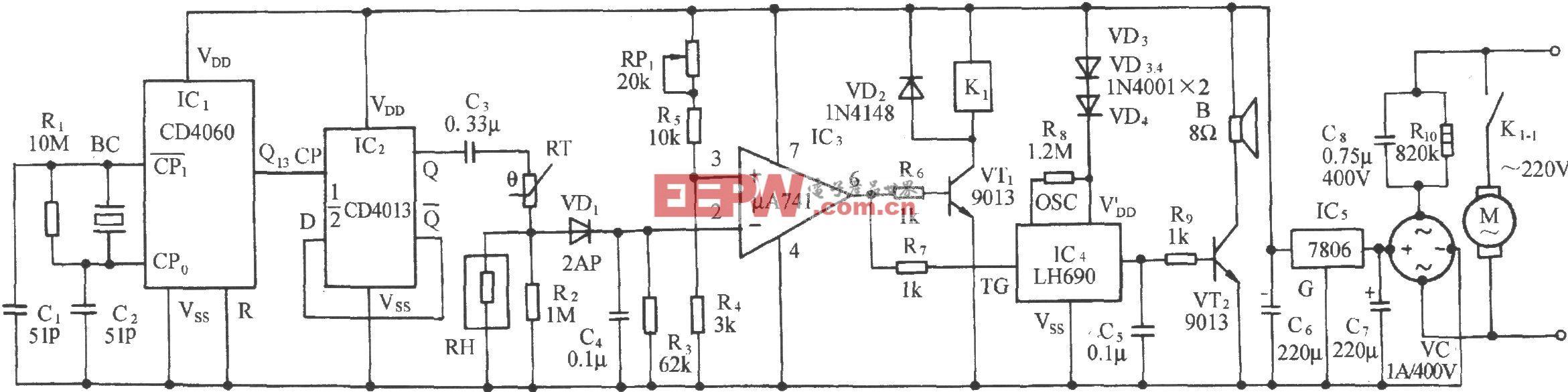 库房湿度检测及自动通风排气装置电路(MS01-A)