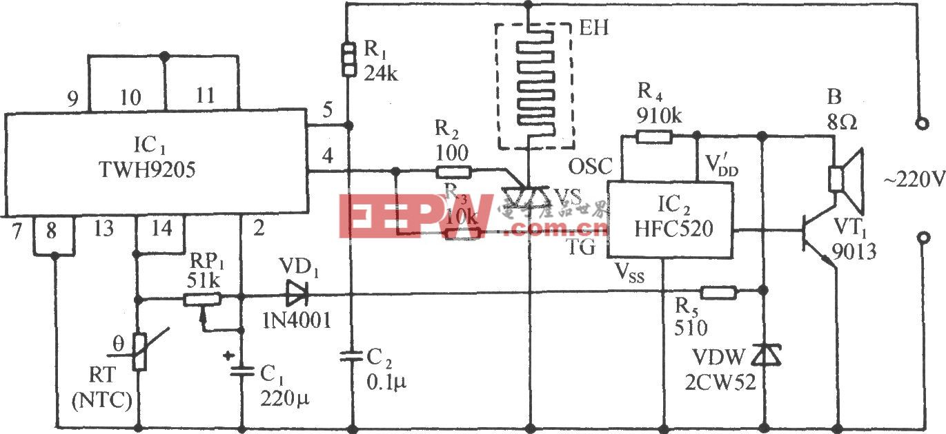 TWH9205的過熱自動保護控制電路