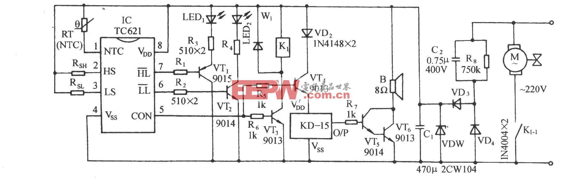 TC621温度传感自动控温伴乐曲发声电路