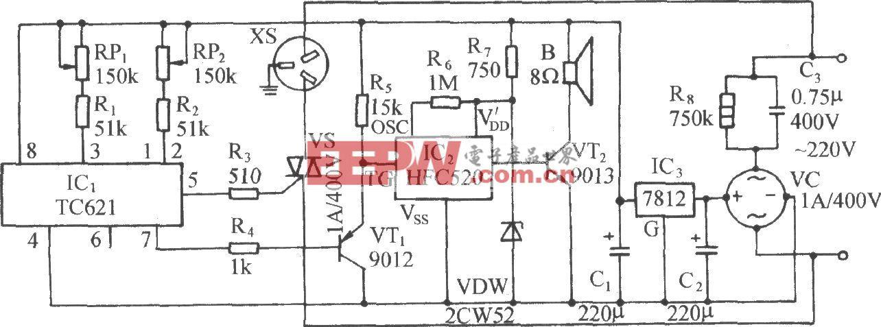 使用TC621的自动启动空调装置电路