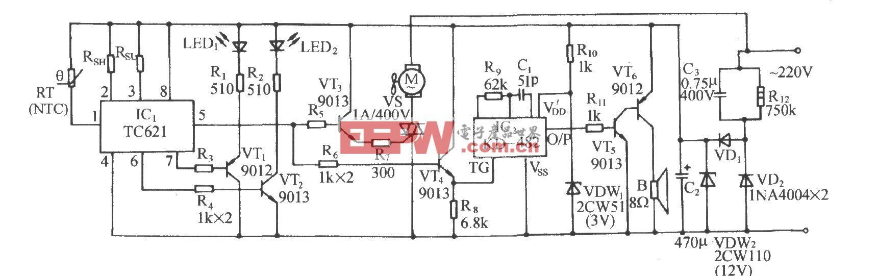 TC621温度传感通风降温控制伴乐曲发声电路