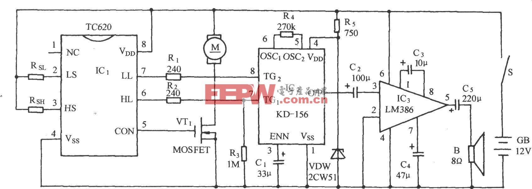 TC620温度传感通风降温自动控制电路