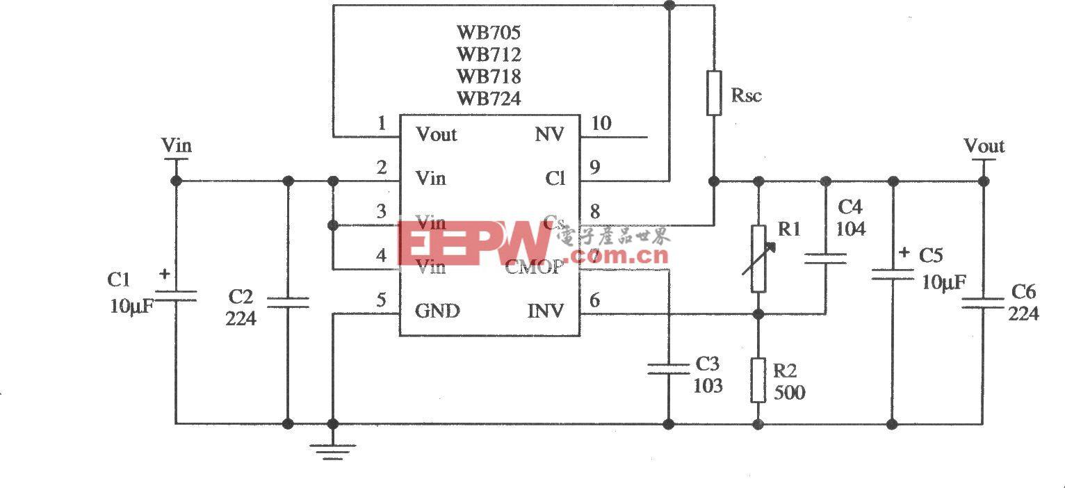 由WB705构成的限流型保护电路的应用电路