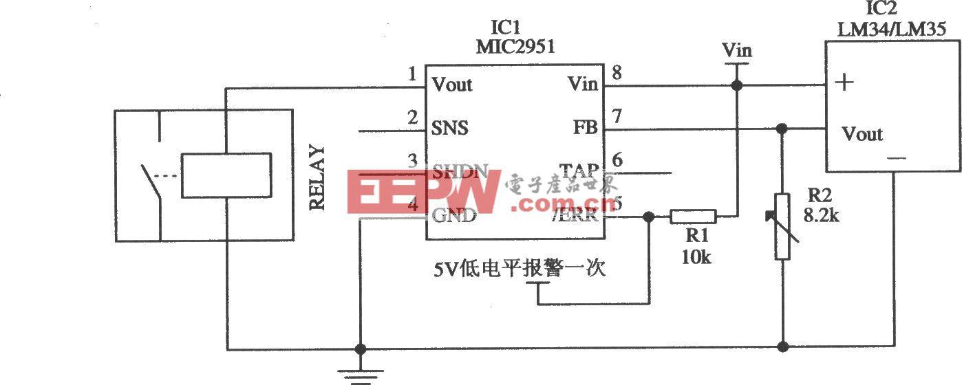 由MIC2951构成的过热保护系统电路