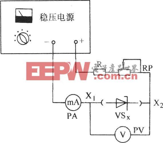 用稳压电源和电流表测试稳压二极管