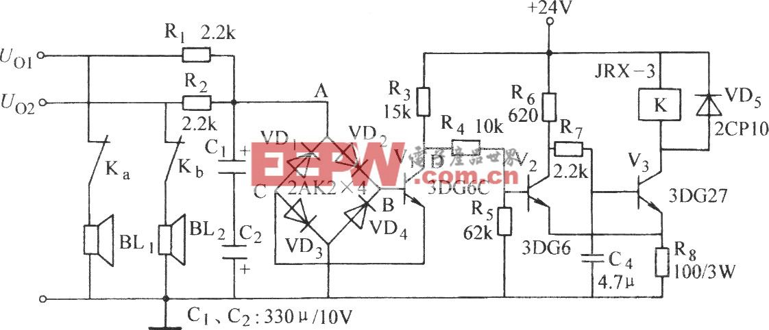 桥式检拾型喇叭保护电路(三)