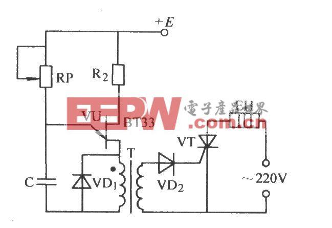 单结晶体管通过脉冲变压器触发晶闸管电路