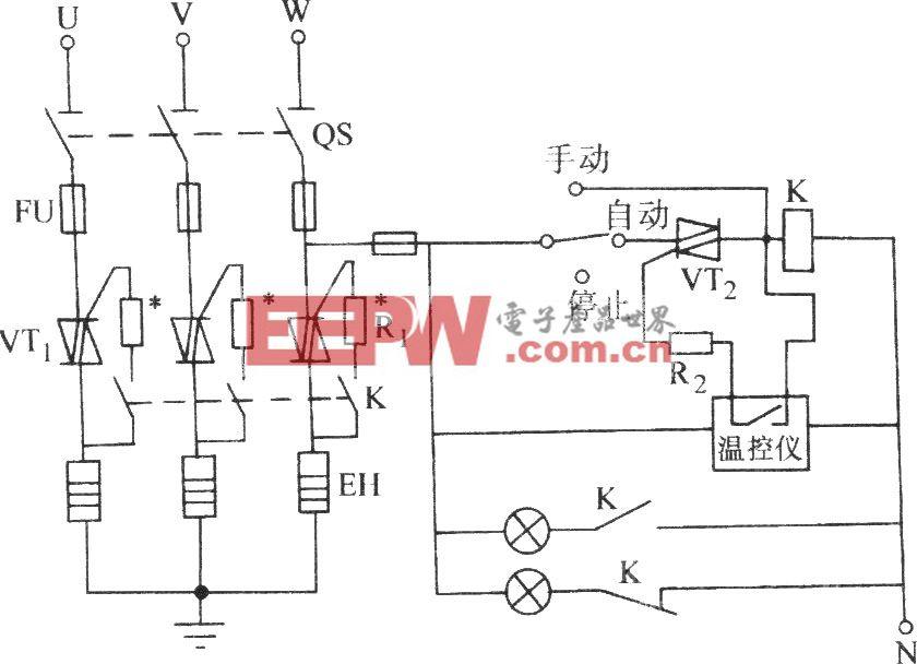 双向晶闸管控制三相电热器件的典型电路