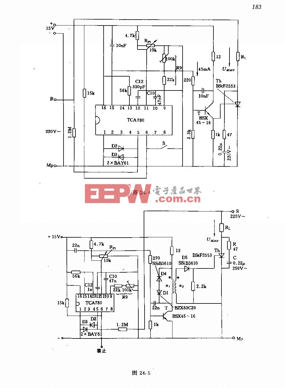 采用集成触发器和变压器隔离的晶闸管电路