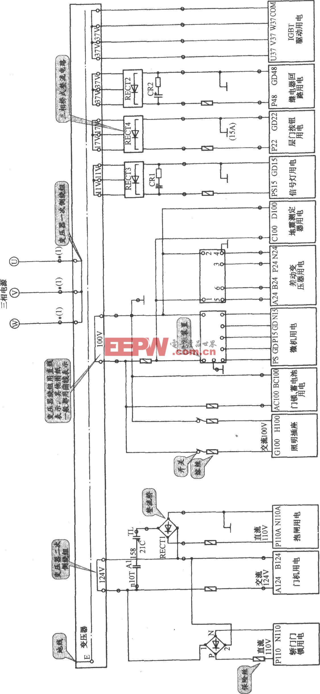 日立VFMG电梯控制电源电路