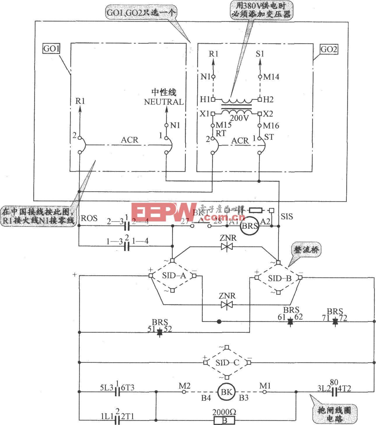 三菱自动扶梯控制电源与抱闸电路