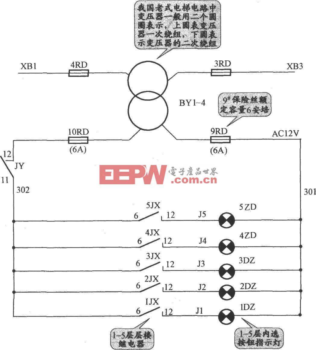 APM-81交流双速电梯指示灯电路(2)