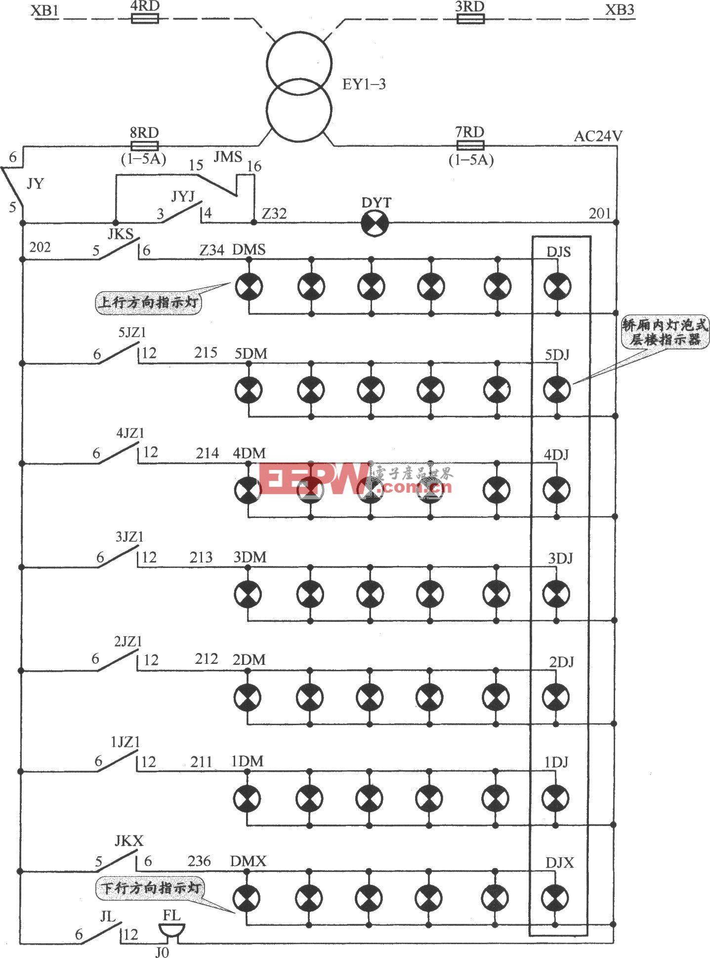 APM-81交流双速电梯指示灯电路(1)