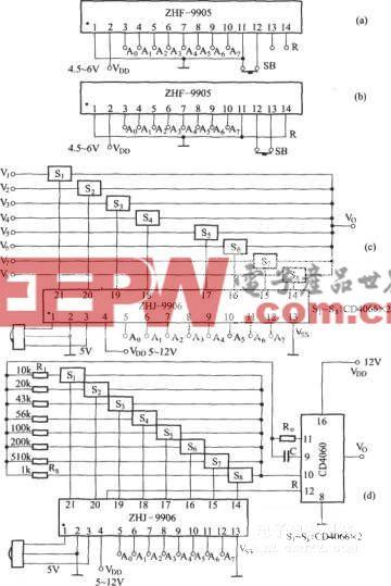 由模块ZHF-9905和ZHJ-9906组成的八路遥控电路
