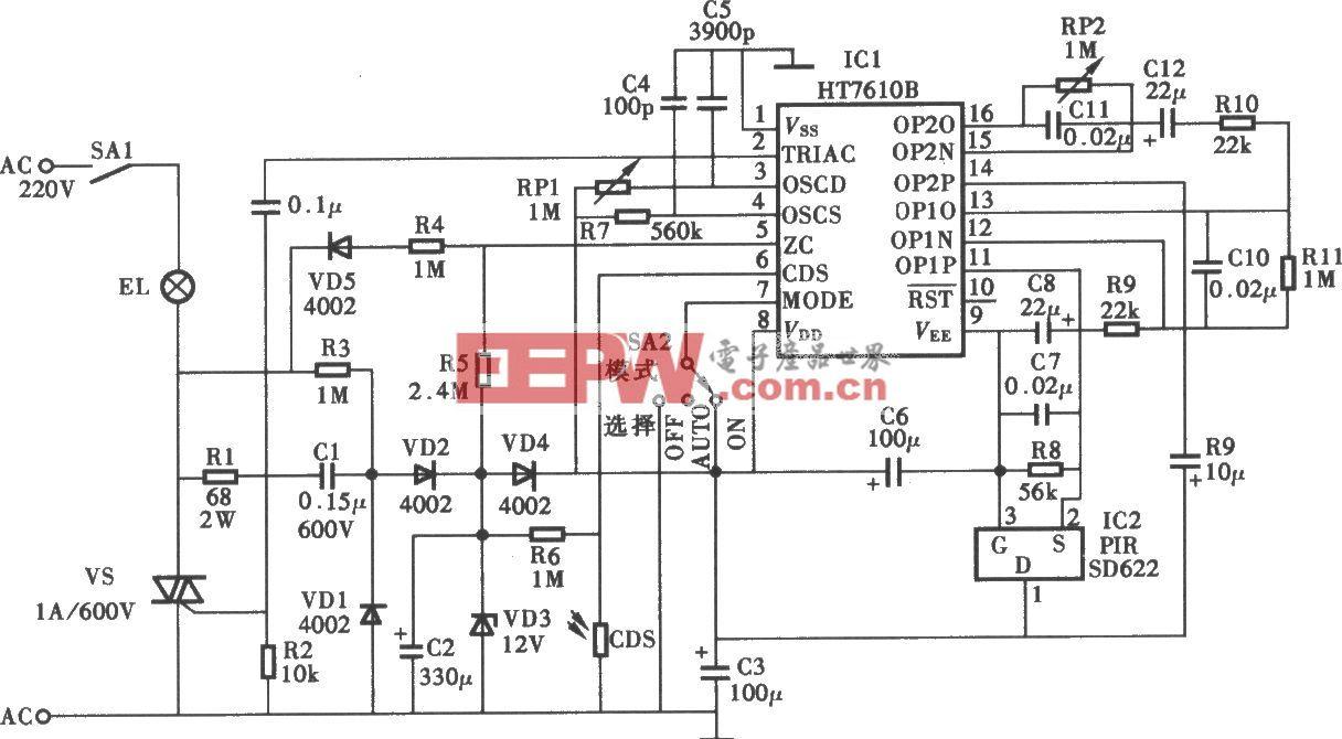 采用HT76108热释电红外控制照明灯电路