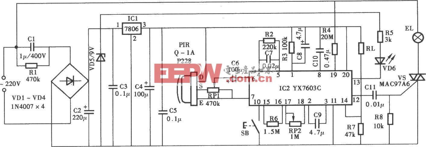 采用YX7603C热释电红外控制照明灯电路