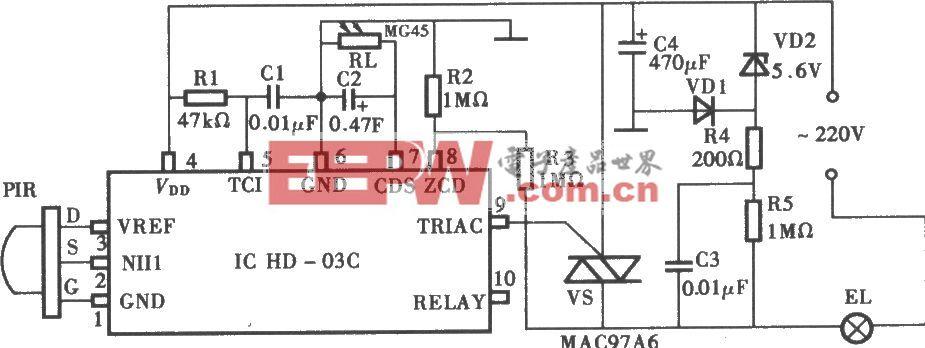 采用DH-03C热释电红外控制延时照明灯电路