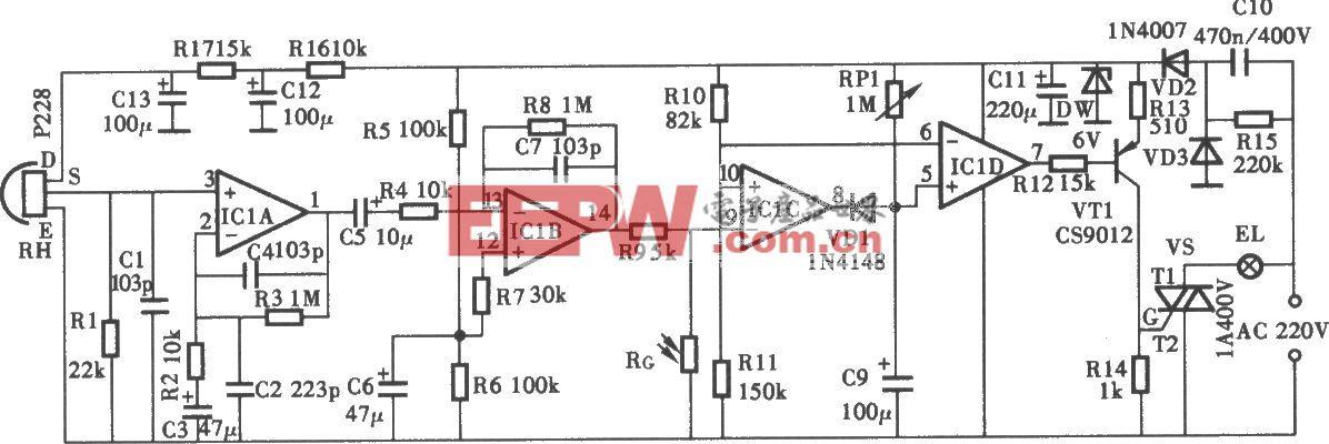 采用P228热释电红外控制照明灯电路
