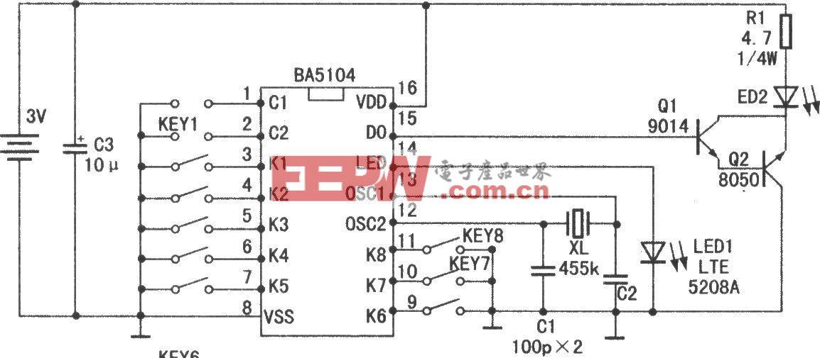 8通道紅外遙控集成電路BA5104/SM5032C